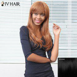 Siv Hair Long Natural Straight Oblique Bang Human Hair Wig