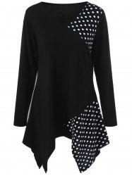 Plus Size Polka Dot Trim Asymmetrical T-Shirt - BLACK