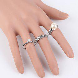 Faux Pearl Engagement Ring Set