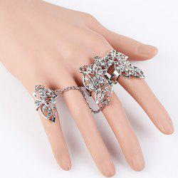 Rhinestone Leaves Multi Finger Ring Set
