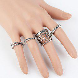 Vintage Geometric Ring Set - SILVER