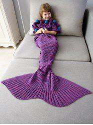 Pom Ball Embellished Crochet Knit Mermaid Blanket Throw For Kids