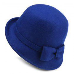 Flanging Felt Fedora Hat with Plain Bowknot Strappy - BLUE