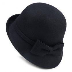 Flanging Felt Fedora Hat with Plain Bowknot Strappy