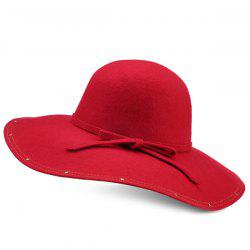 Wide Brim Felt Fedora Hat with Small Bowknot Strappy