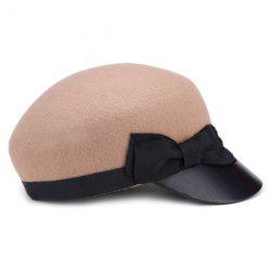 Felt Newsboy Cap with Small Bowknot - LIGHT CAMEL