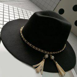 Wide Brim Felt Fedora Hat with Faux Pearl Chain - BLACK