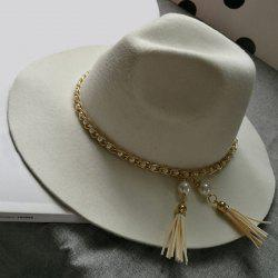 Wide Brim Felt Fedora Hat with Faux Pearl Chain