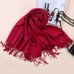 Faux Cashmere Blanket Pashmina with Fringed Edge