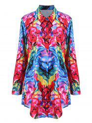Plus Size Digital Print Longline Shirt