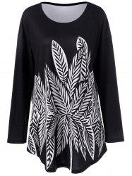 Plus Size Leaf Print Tee