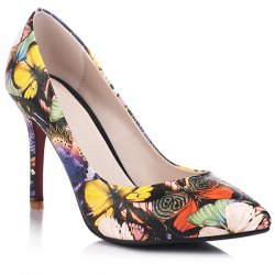 Butterfly Printed Pointed Toe Pumps