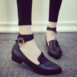 Pointed Toe Ankle Strap Flat Shoes - BLACK