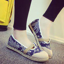 Round Toe Espadrilles Flat Shoes - DEEP BLUE