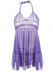Halter Neck Voile Sheer Babydoll Dress