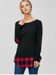 Plaid Elbow Patch Tunic T-Shirt