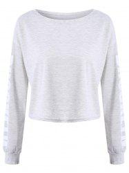 Brooklyn Letter Cropped Long Sleeve Top - GRAY S