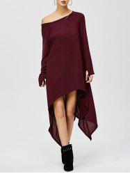 Tea Length Long Sleeve Asymmetric Casual Dress - WINE RED
