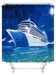 Oil Painting Ship Polyester Waterproof Bathroom Curtain