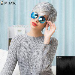 Siv Hair Side Bang Short Shaggy Layered Straight Human Hair Wig