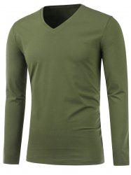 Slim Fit V Neck Long Sleeve Tee