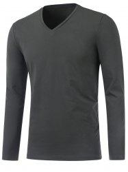 Slim Fit V Neck Long Sleeve Tee - DEEP GRAY 3XL