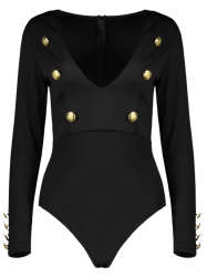 Long Sleeve Buttoned Plunging Neck High Cut Bodysuit - BLACK