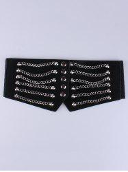 Metal Chains Elastic Extra Wide Belt - BLACK