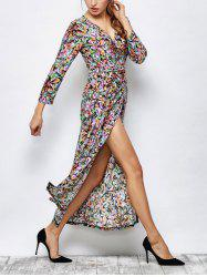 Long Sleeve Printed Maxi Wrap Dress
