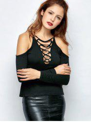 Cold Shoulder Lace-Up T-Shirt