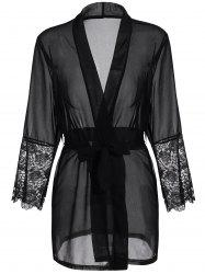 Long Sleeve Lace Panel Sheer Wrap Robe - BLACK