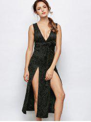 Long Lace Slit Plunge Neck Backless Dress