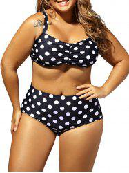 Retro Plus Size Polka Dot High Waist Halter Bikini Set