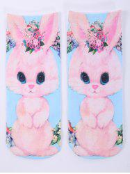One Side 3D Cartoon Rabbit Printed Crazy Ankle Socks