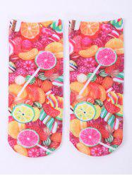 One Side 3D Fruit Candy Printed Crazy Ankle Socks