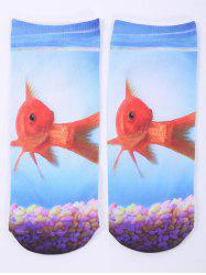 socquettes a motif one side poisson en or en 3D - Nuageux