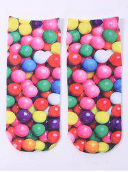 One Side 3D Round Sweets Printed Crazy Ankle Socks - COLORFUL