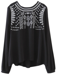 Embroidered Back Tie Blouse - BLACK M