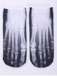One Side 3D Foot Skeleton Printed Crazy Ankle Socks - WHITE