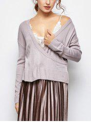 V Neck Surplice Loose Sweater