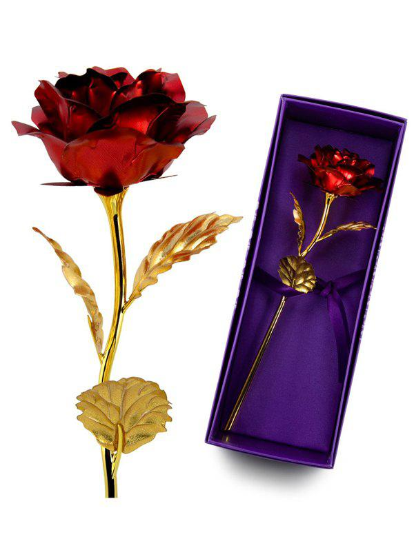 Red 1pcs Gold Plated Rose Flower Birthday Gift