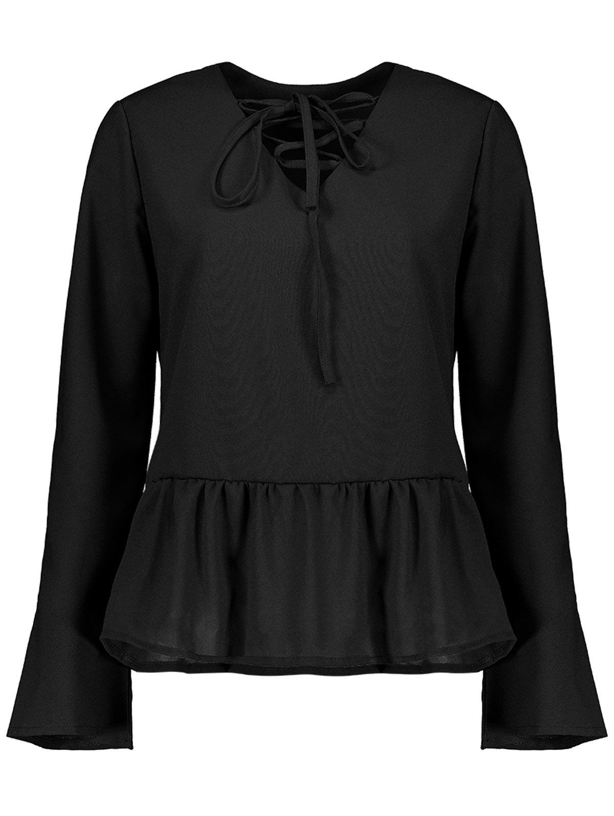 Discount Flare Sleeve Lace Up Peplum Top