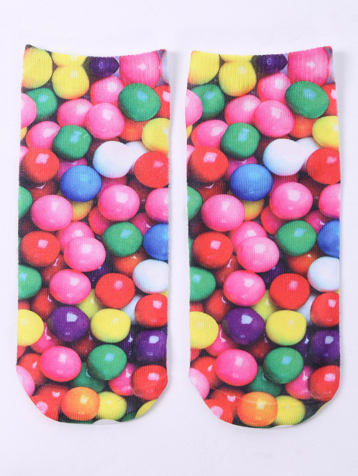One Side 3D Round Sweets Printed Crazy Ankle SocksACCESSORIES<br><br>Color: COLORFUL; Type: Socks; Group: Adult; Gender: For Women; Style: Fashion; Pattern Type: Others; Material: Spandex; Length(CM): 20CM; Width(CM): 8CM; Weight: 0.100kg; Package Contents: 1 x Socks(Pair);