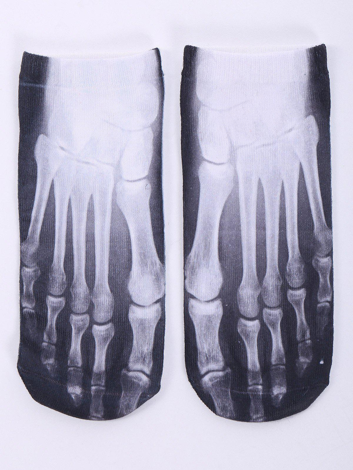 One Side 3D Foot Skeleton Printed Crazy Ankle SocksACCESSORIES<br><br>Color: WHITE; Type: Socks; Group: Adult; Gender: For Women; Style: Fashion; Pattern Type: Others; Material: Spandex; Length(CM): 20CM; Width(CM): 8CM; Weight: 0.1000kg; Package Contents: 1 x Socks(Pair);