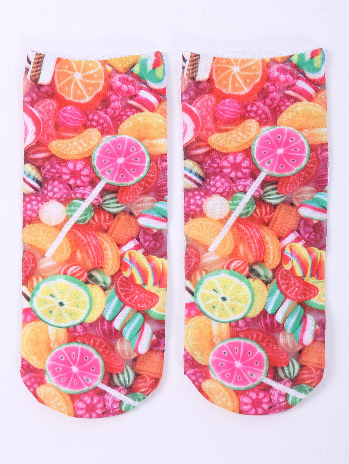 One Side 3D Fruit Candy Printed Crazy Ankle SocksACCESSORIES<br><br>Color: COLORFUL; Type: Socks; Group: Adult; Gender: For Women; Style: Fashion; Pattern Type: Others; Material: Spandex; Length(CM): 20CM; Width(CM): 8CM; Weight: 0.100kg; Package Contents: 1 x Socks(Pair);