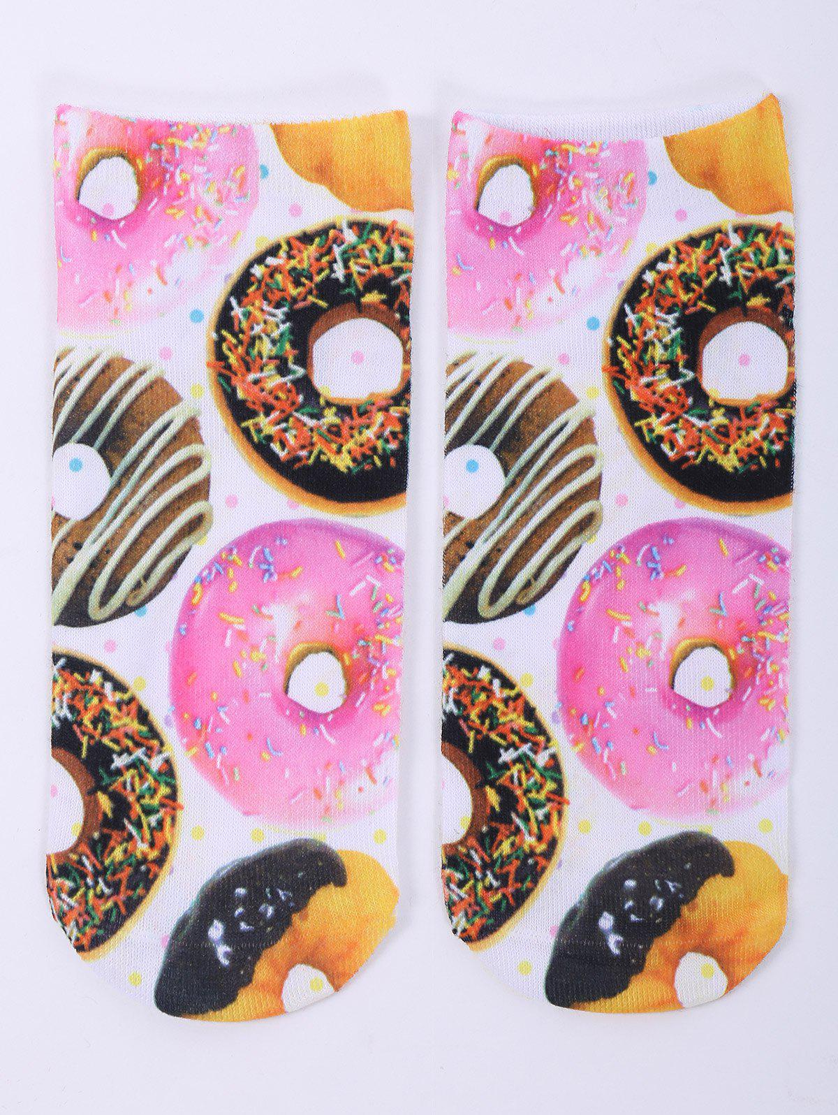 One Side 3D Donuts Printed Crazy Ankle SocksACCESSORIES<br><br>Color: WHITE; Type: Socks; Group: Adult; Gender: For Women; Style: Fashion; Pattern Type: Others; Material: Spandex; Length(CM): 20CM; Width(CM): 8CM; Weight: 0.100kg; Package Contents: 1 x Socks(Pair);