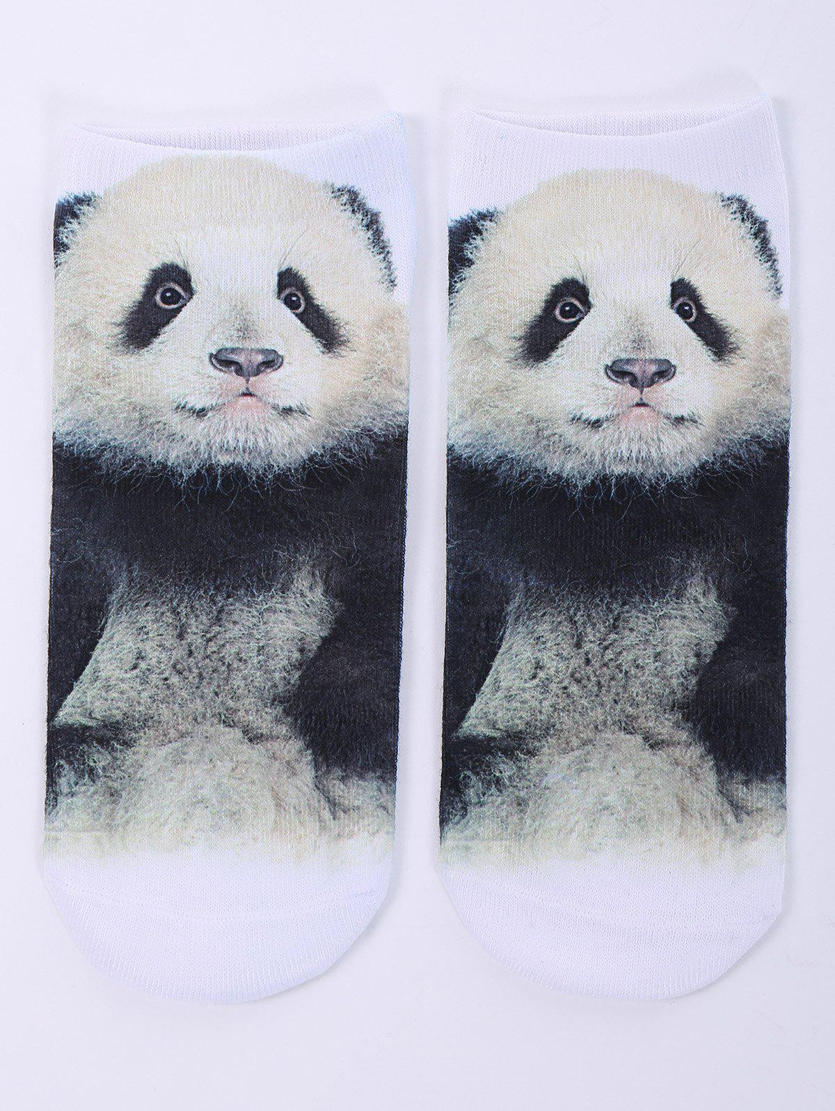 One Side 3D Panda Baby Printed Crazy Ankle SocksACCESSORIES<br><br>Color: WHITE; Type: Socks; Group: Adult; Gender: For Women; Style: Fashion; Pattern Type: Animal; Material: Spandex; Length(CM): 20CM; Width(CM): 8CM; Weight: 0.100kg; Package Contents: 1 x Socks(Pair);