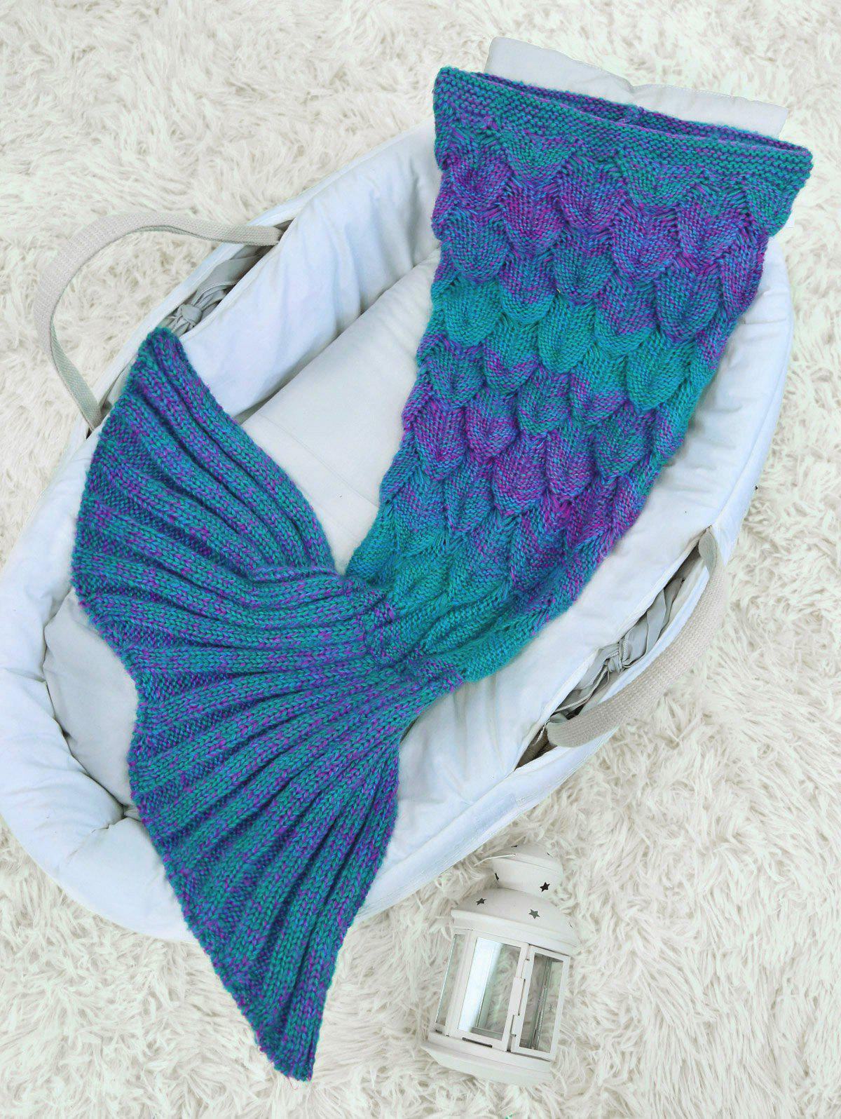 Cheap Woolen Yarn Crochet Knit Mermaid Blanket Throw For Baby