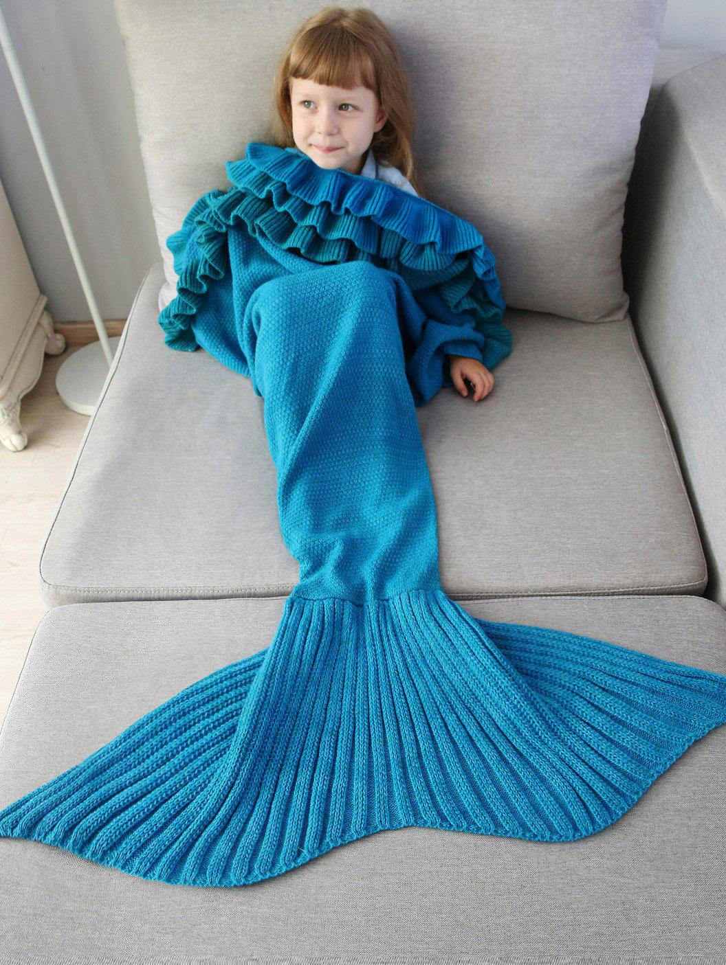 Outfits Ruffles Embellished Knit Mermaid Blanket Throw For Kids