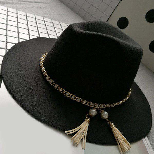 Wide Brim Felt Fedora Hat with Faux Pearl ChainACCESSORIES<br><br>Color: BLACK; Hat Type: Fedoras; Group: Adult; Gender: For Women; Style: Fashion; Pattern Type: Solid; Material: Acrylic; Circumference (CM): 57CM; Weight: 0.250kg; Package Contents: 1 x Hat;